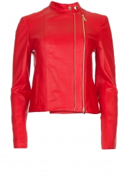 Patrizia Pepe |  Leather biker jacket Alize | red  | Picture 1