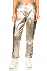 STUDIO AR BY ARMA |  Metallic leather chino pants Nessa | gold  | Picture 4
