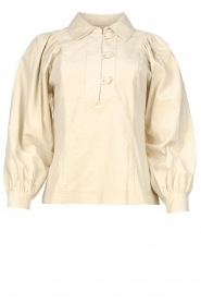 Antik Batik |  Baby rib blouse with puffed sleeves Mona | beige  | Picture 1