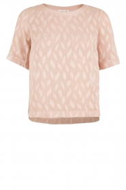 Semi-transparante top Leaf | roze