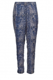 Rabens Saloner |  Printed pants Ane | blue  | Picture 1