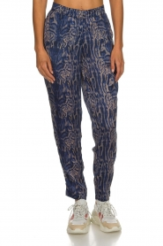 Rabens Saloner |  Printed pants Ane | blue  | Picture 3
