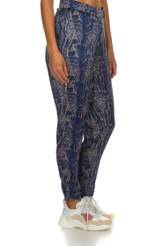Rabens Saloner |  Printed pants Ane | blue  | Picture 4
