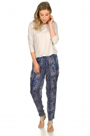 Rabens Saloner |  Printed pants Ane | blue  | Picture 2