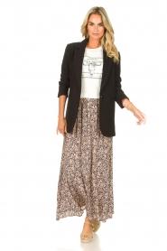 JC Sophie |  Maxi skirt with print Fleur | black  | Picture 3