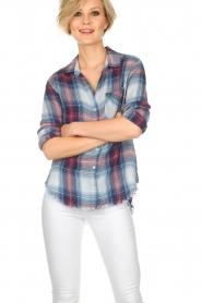 Bella Dahl | Geruite blouse Nora | blauw  | Afbeelding 2