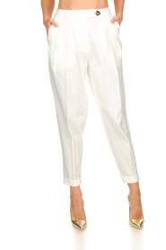 AnnaRita N |  Linen trousers Rozalie | white  | Picture 2