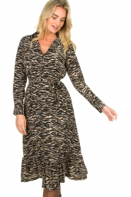 Notes Du Nord |  Midi dress with zebra print Rosie | black  | Picture 2