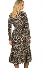 Notes Du Nord |  Midi dress with zebra print Rosie | black  | Picture 6