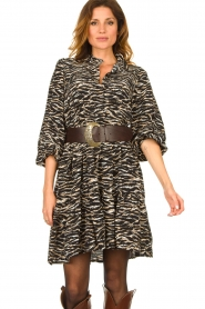 Notes Du Nord | Dress with zebra print Rosie | black  | Picture 4