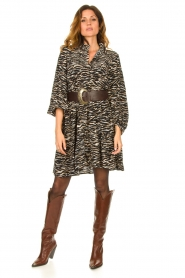 Notes Du Nord | Dress with zebra print Rosie | black  | Picture 3