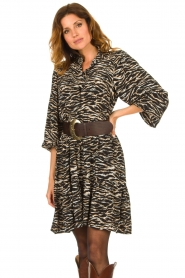 Notes Du Nord | Dress with zebra print Rosie | black  | Picture 2