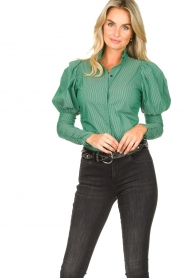 Notes Du Nord |  Puff sleeve blouse Nila | green  | Picture 2