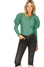 Notes Du Nord |  Puff sleeve blouse Nila | green  | Picture 4