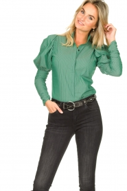 Notes Du Nord |  Puff sleeve blouse Nila | green  | Picture 5