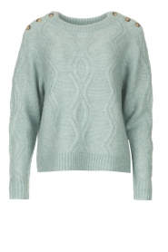 JC Sophie |  Knitted sweater with buttons Joujou | sea green  | Picture 1