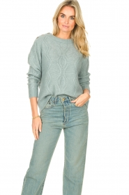 JC Sophie |  Knitted sweater with buttons Joujou | sea green  | Picture 2