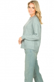 JC Sophie |  Knitted sweater with buttons Joujou | sea green  | Picture 5