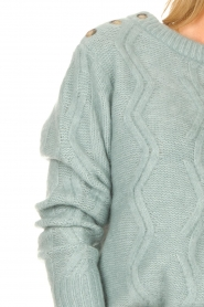 JC Sophie |  Knitted sweater with buttons Joujou | sea green  | Picture 7