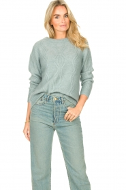 JC Sophie |  Knitted sweater with buttons Joujou | sea green  | Picture 4