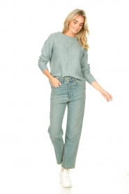 JC Sophie |  Knitted sweater with buttons Joujou | sea green  | Picture 3