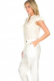 AnnaRita N |  Blouse with ruffles Irina | white  | Picture 4