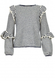 Notes Du Nord | Striped ruffle sweater Monica | blue  | Picture 1