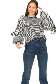 Notes Du Nord | Striped ruffle sweater Monica | blue  | Picture 4
