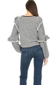 Notes Du Nord | Striped ruffle sweater Monica | blue  | Picture 7