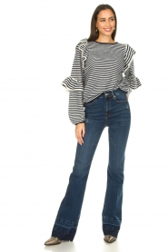 Notes Du Nord | Striped ruffle sweater Monica | blue  | Picture 3
