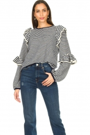 Notes Du Nord | Striped ruffle sweater Monica | blue  | Picture 2