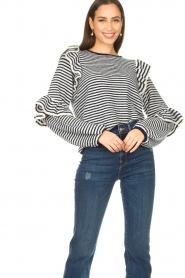 Notes Du Nord | Striped ruffle sweater Monica | blue  | Picture 5