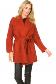 JC Sophie |  Knitted wrap cardigan Jilly | red  | Picture 4