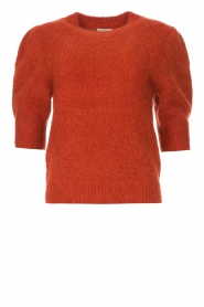 JC Sophie |  Knitted sweater with puff sleeves Jillian | red  | Picture 1
