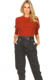 JC Sophie |  Knitted sweater with puff sleeves Jillian | red  | Picture 2