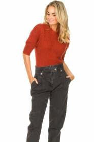JC Sophie |  Knitted sweater with puff sleeves Jillian | red  | Picture 4