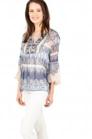 Hale Bob | Zijden blouse Melanie | blauw  | Afbeelding 4