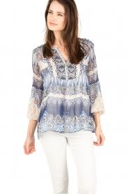 Hale Bob | Zijden blouse Melanie | blauw  | Afbeelding 2