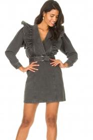Magali Pascal |  Denim ruffle dress Alexia | off-black  | Picture 5
