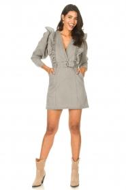 Magali Pascal |  Denim ruffle dress Alexia | grey  | Picture 3