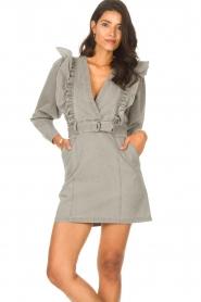Magali Pascal |  Denim ruffle dress Alexia | grey  | Picture 5