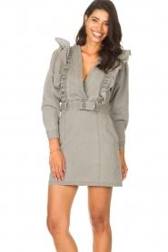 Magali Pascal |  Denim ruffle dress Alexia | grey  | Picture 4