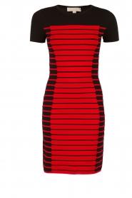 MICHAEL Michael Kors | Jurk Striped | zwart/rood  | Afbeelding 1