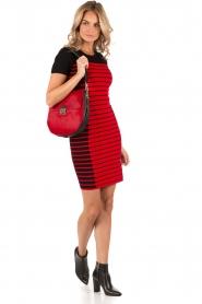 MICHAEL Michael Kors | Jurk Striped | zwart/rood | Afbeelding 3