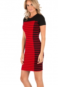 MICHAEL Michael Kors | Jurk Striped | zwart/rood | Afbeelding 4