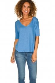 Blaumax | Linen T-shirt Nora | blue  | Picture 2
