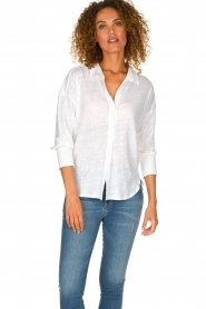 BLAUMAX | Linen Blouse Maddy | white  | Picture 2