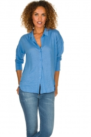 BLAUMAX | Linen blouse Maddy | blue  | Picture 2