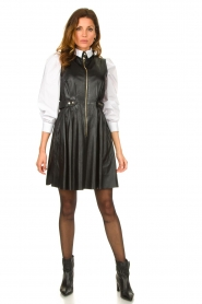Ibana |  Leather dress Dalies | black  | Picture 3