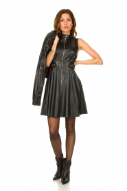 Ibana |  Leather dress Dalies | black  | Picture 7